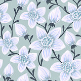 Floral seamless pattern. Hand drawn creative flowers. Colorful artistic background. Abstract herb