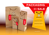 Sales packaging, shopping bags, mock up Vector realistic design.