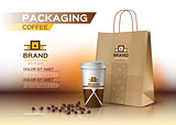 Coffee cup packaging mock up Vector realistic.