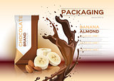 Chocolate with banana and almonds Vector realistic mock up.