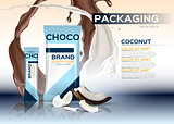 Coconut chocolate packaging Vector realistic.