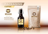 Coffee packaging mock up Vector realistic.