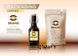 Coffee packaging mock up Vector realistic.