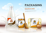 Vector realistic food products Milk and honey bottles