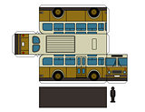 Paper model of an old yellow bus