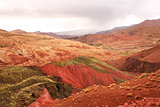 Famous multi-colored clay soil in Atlas mountains, Morocco