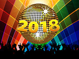Twenty Eighteenth 2018 disco ball and crowd on multicoloured bac