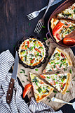 Quiche with salmon vegetables