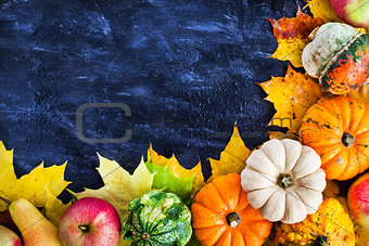 Autumnal colorful pumpkins, apples and fallen leaves  on dark ba