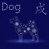 Chinese Zodiac Sign Dog in blue winter motif