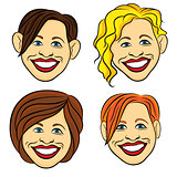 Laughing female faces