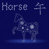 Chinese Zodiac Sign Horse in blue winter motif