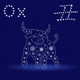 Chinese Zodiac Sign Ox in blue winter motif