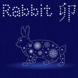 Chinese Zodiac Sign Rabbit in blue winter motif