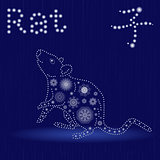 Chinese Zodiac Sign Rat in blue winter motif