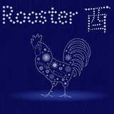 Chinese Zodiac Sign Rooster in blue winter motif