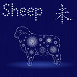 Chinese Zodiac Sign Sheep in blue winter motif