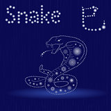 Chinese Zodiac Sign Snake in blue winter motif