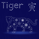 Chinese Zodiac Sign Tiger in blue winter motif