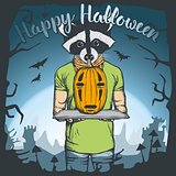 Vector illustration of Halloween raccoon concept