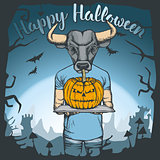 Vector illustration of Halloween bull concept