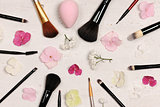 make up brushes arrangement