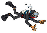 Funny diver in a black neoprene
