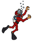Funny diver in a red neoprene