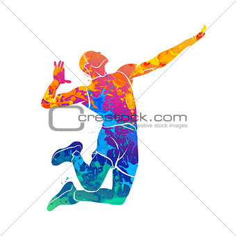 Abstract volleyball player