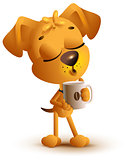 Yellow dog holding coffee cup