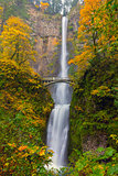 Multnomah Falls in Fall Season Colors