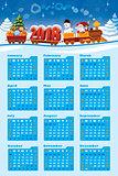 Calendar 2018 with Santa Claus