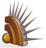 rss symbol with prickles on white background - 3d illustration