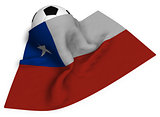 soccer ball and flag of chile - 3d rendering