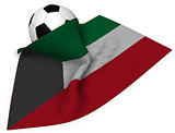 soccer ball and flag of kuwait - 3d rendering