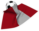 soccer ball and flag of peru - 3d rendering
