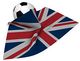 soccer ball and flag of the uk - 3d rendering