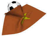 soccer ball and flag of vietnam - 3d rendering