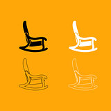Rocking chair set black and white icon .