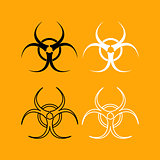 Biological danger set black and white icon .