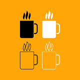 Cup with hot drink set black and white icon .