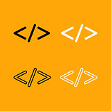 Symbol code  set black and white icon .