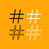 Hashtag set black and white icon .