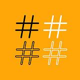 Hashtag set black and white icon .