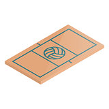 Icon playground volleyball in isometric, vector illustration.