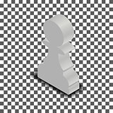 White chess piece pawn isometric, vector illustration.