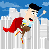 Businessman flying up with red cape