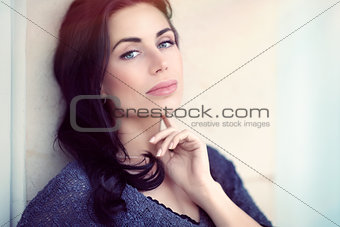 Beautiful serious woman