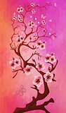 Beautiful Cherry blossom on triangle background