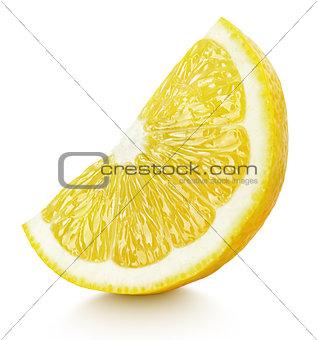 Slice of yellow lemon citrus fruit isolated on white